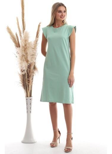 Cottonmood 20333416 Süprem Omuzu Telalı Elbise Cagla Yesil Yeşil